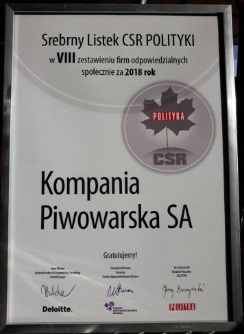 Kompania Piwowarska z kolejnym Srebrnym Listkiem CSR