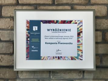 """Raport CSR Kompanii Piwowarskiej wyróżniony  w 13. edycji konkursu """"Raporty Społeczne"""""""